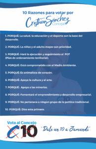 Razones para votar por Cristian Sanchez